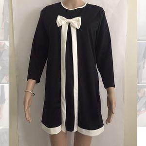 Dresses & Skirts - White tie black mini dress Sz M